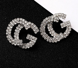 rhinestone letter earrings Coupons - Fashion New G Letter Luxury Designer Earrings S925 Silver Needle G Stud Earring Jewelry with Pearl Crystal Gift