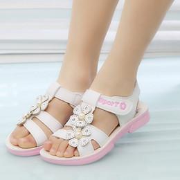 belles chaussures d'été décontractées Promotion 2019 style d'été enfants sandales filles chaussures princesse belle fleur chaussures de sport sandales plates bébé filles respirant