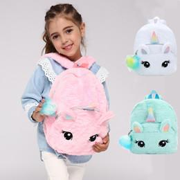 Mochilas kawaii online-Mochilas de felpa suave de unicornio de moda Kawaii Cartoon Girls Mochilas escolares Bolso de viaje de bebé lindo al aire libre TTA1715