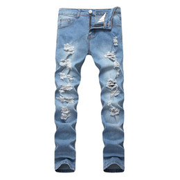 Небесно-голубые джинсы онлайн-2019 Spring New Men Ripped Jeans Slim Fit Sky Blue Multiple Hole Denim Hip Hop Casual Male Destroyed Trousers Button  Pants