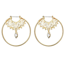 heart gears Coupons - 1 Pair Round Drop Earring Gold Color Hollow Love Heart Whirlpool Gear Crystal Hoop Earring For Women Statement Jewelry Wholesale