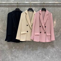 Argentina 2019 principios de otoño, nuevo traje de mujer, collar recortado, doble fila, con botones, manga larga, chaqueta corta 701 supplier necklace jackets Suministro