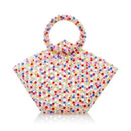Bolsas de pérolas vintage on-line-NOVO Luxury Vintage Mulheres pérola bolsas noite retro artesanal Beads saco cor Chic Clutch Bag frisada do arco-íris