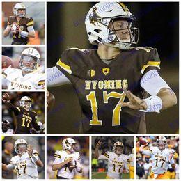 café vaqueiro Desconto Homens personalizados Juventude NCAA Wyoming Cowboys # 17 Josh Allen Jersey Brown Café Branco Com Nome Nenhum Nome S-3XL Camisas de Futebol Costurado