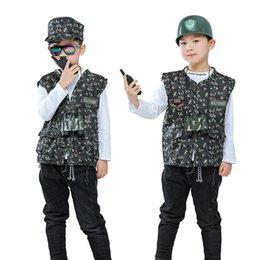 costume uniforme soldato Sconti I bambini 110-140cm Vestito uniforme Army Cap Ragazzi Vest + con il combattimento telescopio US Army Tactical Jacket costumi Cosplay Soldier