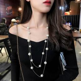 doppelschichten perlen halsketten Rabatt Einfaches Lange Double Layer Simulierte Perlen Damen Ketten Clavicleweinlesehalskette Fashion Schmuck Pullover Halskette für Frauen-Party-Mädchen