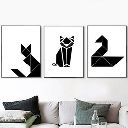 Geometric Cartoon Cat Swan Canvas Painting Black White Nordic Posters Abstract Wall Pictures For Living Room Kids Room cheap pictures black cats de Fornecedores de fotos gatos pretos