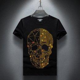 espacio gato t shirts Rebajas Verano Primeros Hombres cráneos de diamantes de imitación T Shirts algodón modal O de manga corta cuello delgado Camiseta