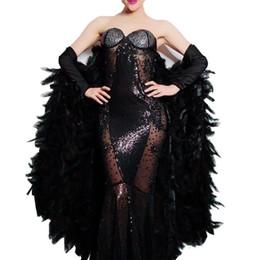 2019 sexy modèles féminins noirs 2019 femelle plumes noires chauve-souris cristaux cristaux paillettes robes robe sans bretelles mode sexy bal célébration modèles défilé scène costume promotion sexy modèles féminins noirs