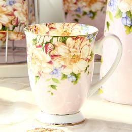 Canecas de café pintadas on-line-300 ML, bone china cerâmica caneca de café, tazas cafe pintura floral, presente criativo copo de cerâmica, cerimônia do vintage
