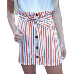 pantalones cortos de talle alto Rebajas Mujeres abrigo corto falda mini de cintura alta botón de rayas falda del vendaje AUG15