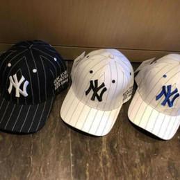 Корейская пара шляпу онлайн-baseball cap striped men and women couple visor baseball cap 2019 spring new Korean hat