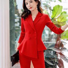 traje pantalón rojo mujer Rebajas 2019 rojas de la manera Trajes Pant formal Uniforme señoras de la oficina diseños de las mujeres elegantes de la chaqueta ropa de trabajo de negocios con Pantalones Conjuntos