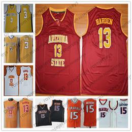 Chemises de démon en Ligne-NCAA ASU Sun Devils # 13 Harden Rouge Rétro James Jersey Démon Deacons # 3 Paul Syracuse Orange # 15 Chemise Anthony Carmelo Chris Arizona