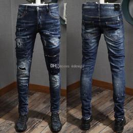 2019 gold jungs Cooler Typ Jeans Italia Fashion Style Farbe Wash-Effekt zerrissene dünne heiße Verkaufs-Denim-Hose für Männer günstig gold jungs
