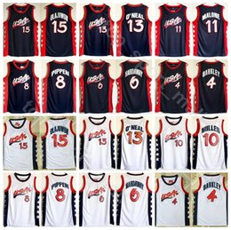 gold basketball jerseys Promo Codes - 1996 Dream Team Jerseys Basketball 13 Shaquille O'Neal Oneal Hakeem Olajuwon Penny Hardaway Charles Barkley Reggie Miller Scottie Pippen