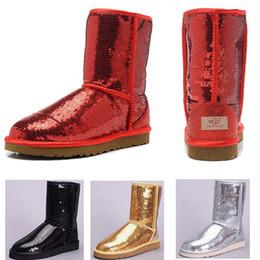 Boton rojo boton rojo online-Cojín Lentejuelas oro rojo plata negro Zapatos de mujer invierno Australia Botas de nieve WGG Chica Tobillo Rodilla Botín Invierno cálido