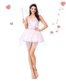 Brilhante Lantejoula Rosa Elf Vestido Com Asas de Borboleta Flor Fada Princesa Rainha Cosplay Adulto Feminino Menina Roupas de Halloween de