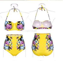 Stahl-bikini-stil online-2019 Designer Badeanzug New-Style-Hersteller Großhandel Bademode INS Stahlklammern Falten Brust Bikini Frauen Badeanzüge Im Bikini Gedruckt