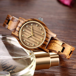 Antike damen golduhr online-Reloj Femenino New Design Holz-Uhr-Frauen Kleine Gold-Pointer Antike Luxus weibliche schlanke Band-Uhr-Dame Gift Drop Shipping
