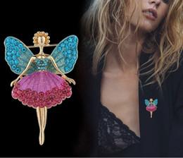 Spille di balletto di cristallo online-Smalto Angel Wings Crystal Dress Ballet Dance Girl Ballerina Pins e spille per le donne Abito femminile accessori cappotto regalo