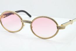 Argentina Envío gratis blanco interior negro cuerno de búfalo gafas de diamante de fotograma completo 7550178 diseñador Unisex redondo marca de gama alta gafas de sol lentes de color rosa cheap diamond inside Suministro