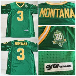 Combattendo il calcio irlandese online-Mens 3 Joe Montana di Notre Dame Fighting Irish 1977 30 ° Anniversario Patch NCAA College Football Jersey con cuciture doppie Nome Logos