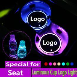 logotipo do leon Desconto Logo 2X Led Car Cup luzes para Seat Leon Ibiza Logo Ateca luz luminosos Copos Bebidas titulares Acessórios Atmosfera lâmpada
