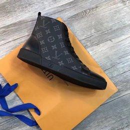 cordones de arranque originales Rebajas 2019 Botas deportivas de lujo con estampado a cuadros de lujo Clásico Casual hombres Zapatillas con cordones Elegantes zapatillas altas suela de goma Con caja original