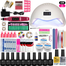 Gel manicure top coat online-Uv Lámpara Led Nail 48w / 54w / 36w Art Tool Set de manicura Elija 10 colores Gel Polish Base Top Coat Kits de uñas Manicura eléctrica Mango