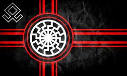 Bandeira do sol negro on-line-150 cm * 90 cm Preto Sol Bandeira Kolovrat Eslavo Símbolo Sol Roda Svarog Solstício 3 * 5FT Poliéster Personalizado Decorativo Pendurado Bandeira Para A Decoração