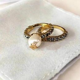 Diseñador C y D Mujer Joyería de alto grado Pentagrama Juego de perlas Anillo de 2 piezas Anillo de CZ Joyería de boda desde fabricantes
