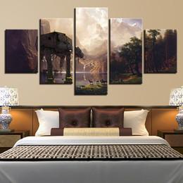 2019 pittura nera rossa fatta a mano Tela Pittura Arte della parete Stampe HD 5 Pezzi Poster del film Home Decor Camera modulare Immagini di sfondo Poster moderno