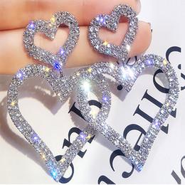 ouro preto brincos de contas brincos Desconto Luxo brilhante Feminino Big Coração de Cristal Amor Brincos Moda Brincos de prata do casamento de ouro Designer de jóias vintage Dangle brincos para mulheres