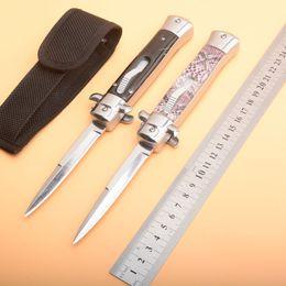 regali speciali di disegno Sconti Offerta speciale Nuovo design AUTO coltello tattico 440C 58HRC raso singolo bordo lama maniglia in lega EDC coltelli da tasca regalo con borsa in nylon