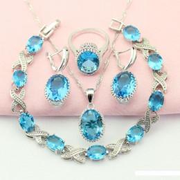 colgantes de piedra de color azul Rebajas Conjuntos Conjuntos Sky Blue Stone color de plata para las mujeres collar colgante de adorno mujer de la joyería gota pendientes del anillo libre de la caja