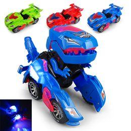 детские игрушки для мальчиков Скидка Детская Игрушка Творческий Мини Динозавр Морфинг Автомобиль Электрическая Игрушка с Легкой Музыкой Динозавр Деформации Модель Автомобиля Детские Игрушки
