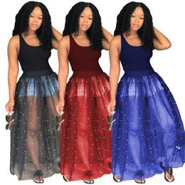 Vestidos de burbuja casuales online-Mujeres sexy malla maxi vestidos de verano ropa de color puro vestidos sin mangas flaco de la manera rebordear falda de la burbuja más el tamaño s-2xL608