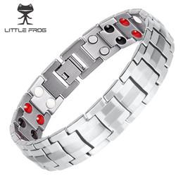 Pulseira de homem on-line-POUCO sapo linha dupla dos homens 4 elementos de saúde magnética pulseira de titânio prata terapia bangles melhor presente para o amante
