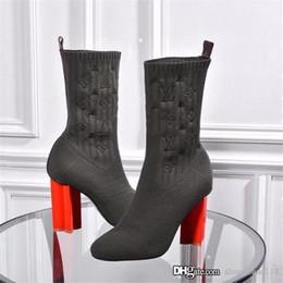Botas altas online-El tacón alto para mujer estirar calcetín Botas, El último botín Rose óxido eléctrico con dedo del pie llano mezclado y tacones Negro Tela robusto bloque