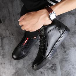 Botas de invierno de cuero de piel negra online-Zapatos de los hombres de gran tamaño Botas de tobillo de los hombres de cuero de alta calidad Botas de nieve negro Zapatos de piel de invierno Cálido HH-015