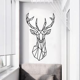 Calcomanía de cabeza de venado online-Nuevo estilo nórdico geométrico Deer Head Animal etiqueta de la pared Literatura y arte fresco dormitorio sala de estar decorativo etiqueta de la pared