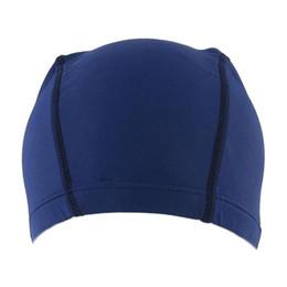 cappello sportivo delle donne Sconti Poliestere Uomo Donna Sporty Flessibile Panno Cuffia Cuffia Swim Blue