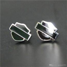 2 paires / lot design personnel 3 couleur shiled boucles d'oreilles style biker 316L en acier inoxydable bijoux de mode dames populaires motard boucles d'oreilles ? partir de fabricateur