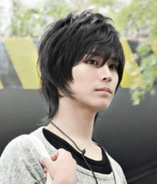 Pelo moda chico caliente online-LL HOT vende $ $ # Guapo Boys peluca Nueva Moda Coreana Corto Hombre Natural Negro Peluca Cosplay
