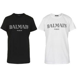 Camisetas on-line-O desenhista 2019 da roupa das camisas de Balmain T tende o tipo magro de Balmain France Paris das mulheres brancas dos homens do preto azul
