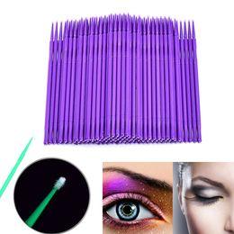 Micro cepillado 100 unids Durable Maquillaje de pestañas Swab Extensión Natural Máscara Individual Cosméticos Pestañas Pegamento Herramienta de limpieza desde fabricantes
