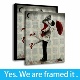 couple cartoon painting Promo Codes - HD Print Background Wall Decor Painting Red Umbrella Couple Art Canvas Framed Art - Ready To Hang - Support Customization