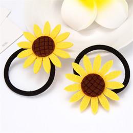 Шоколадные подсолнухи онлайн-1 шт. Прекрасный подсолнух эластичные ленты для волос игрушки для девочек ручной лук повязка на голову резинка для волос детские аксессуары для женщин