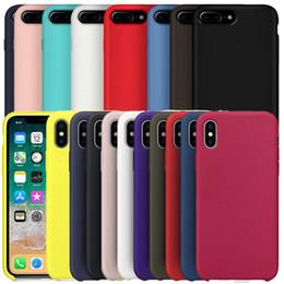 housses de téléphone cellulaire en gros Promotion Avoir LOGO Coques en silicone d'origine pour iPhone 6 6S 7 8 Plus couverture de cas de silicone liquide pour iPhone X XR XS Max avec logo paquet de vente au détail